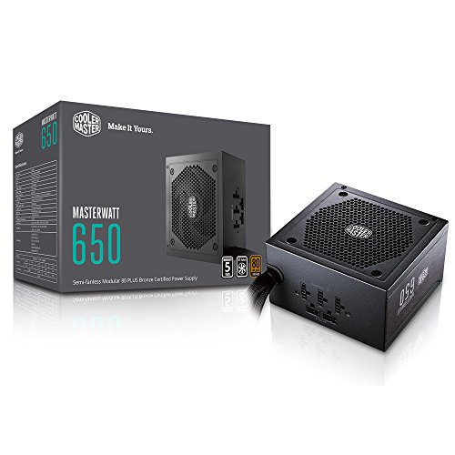 Cooler Master Watt 650 Watt Semifanless Modular Power Supply, 80 PLUS Bronze Certified Power Supply for Computers
