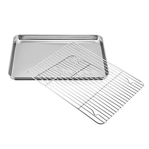 Plateau de cuisson avec étagère, plaque de cuisson en acier inoxydable avec grille de refroidissement - Sain et non toxique - Grille rack étagère et passe au lave-vaisselle pour la cuisine