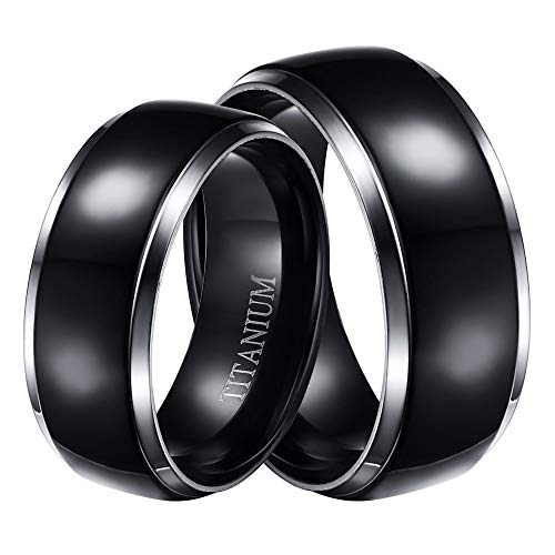 LaRaso & Co Black Plated Titanium Rings for Him and Her, Matching Wedding Rings, Titanium Bands - His Ring Size 10 and Hers Size 7