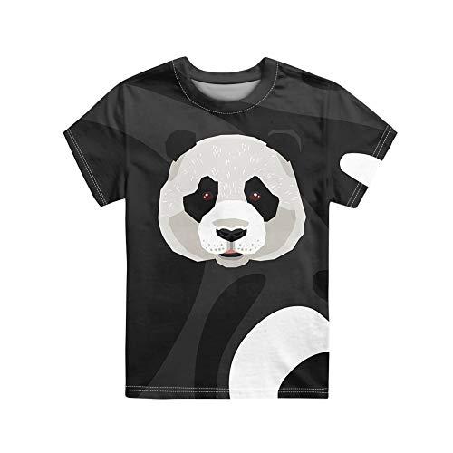 UOIMAG Jungen-T-Shirt, Rundhalsausschnitt, kurze Ärmel, Unisex, normale Passform, für 3–16 Jahre Gr. 9-10 Jahre, Cartoon Panda