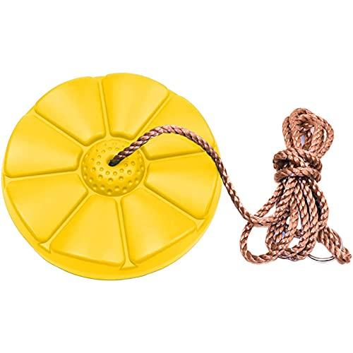 ZZSQ Columpio Columpio De Plástico con Descuento con Carga De Cuerda Ajustable 150 Kg Columpio Colgante para Niños Jardín Al Aire Libre Interior,Amarillo