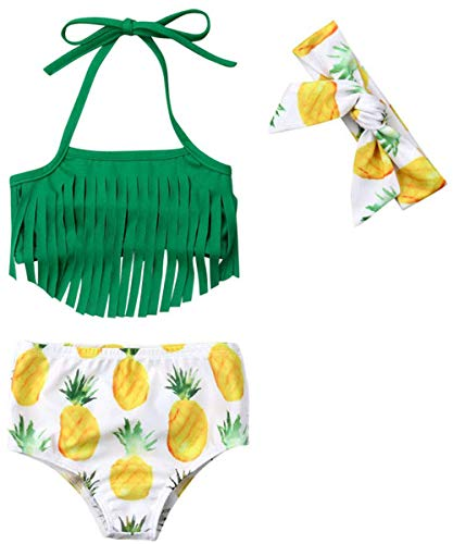 Infant Baby Girl Bikini Swimsuit Tassels Floral Pinapple Bowknot Swimwear Bathing Suit Summer Outfits Set (Green, 12-18 Months)