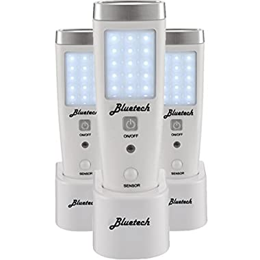 Bluetech LED Flashlight Night Light for Emergency Preparedness, Portable Unit with Motion Detection,Power Failure Light, ETL Approved Blackout Light- 3 Pack