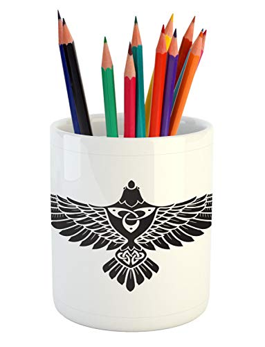 Printawe Raven Pencil Pen Holder, Norse Theme Bird in Celtic Design Monochrome Style Illustration Print, Printed Ceramic Pencil Pen Holder for Desk Office Accessory, Charcoal Grey and White