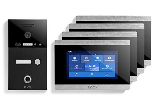 GVS AVS5228A - Videoportero de 4 cables/IP, IP65, RFID, Fingerprint, 4 monitores de 7 pulgadas, aplicación, cámara HD 120°, apertura de puerta, 32 GB de memoria, conmutador PoE, 1 juego familiar