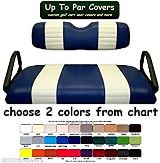 E-Z-Go RXV Custom 2-Stripe Golf Cart Seat Cover Set Made with Marine Grade Vinyl - Staple On - Choose Your Colors From Our Color Chart!