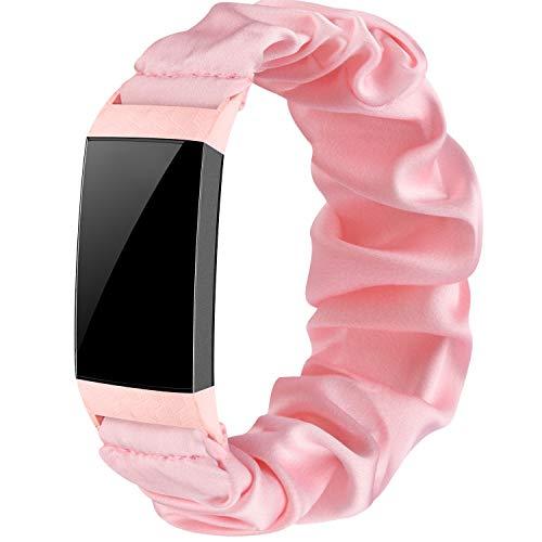 Wanme Correa Compatible con Fitbit Charge 4 Fitbit Charge 3 Correa, Tela Elástica Tela Correas para Relojes Patrón Pulsera Estampada Tejida, Mujeres (Rosa, S)