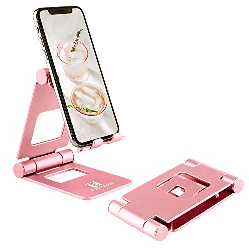 Big Phone Holder Adjustable - ToBeoneer Tablet Stand, Mobile Phone Dock Compatible with iPhone 12 11 XR XS 8 7 6 6S Plus iPad Kindle fire HD for Desk (Rose Gold)