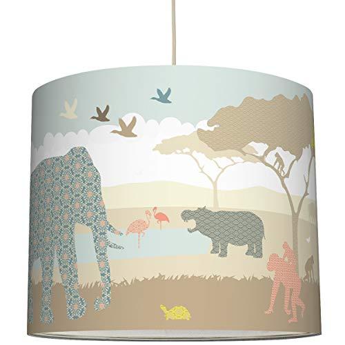 anna wand Hängelampe Hello Africa NATURFARBEN – Lampenschirm für Kinder/Baby Lampe mit Tieren aus Afrika – Sanftes Kinderzimmer Licht Mädchen & Junge – ø 40 x 34 cm