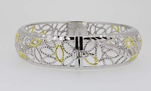 Damen Armreifen Armspange | oval breit 925 Silber vergoldet | Bicolor Armschmuck mit Kastenschloss