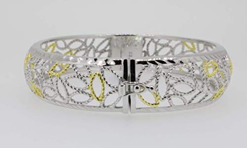 Damen Armreif Armspange oval breit 925 Silber Bicolor vergoldet Kastenschloss