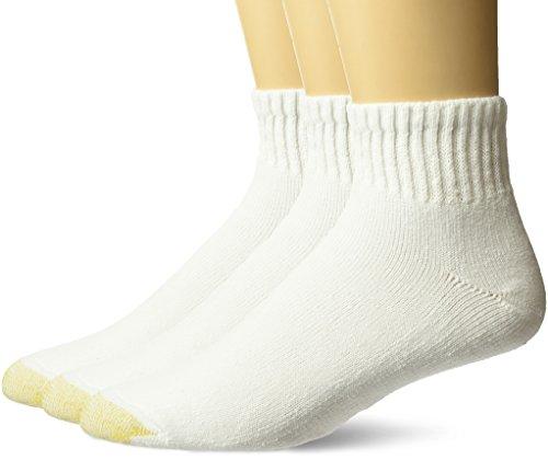 Gold Toe mens Ultra Tec Performance Quarter Athletic Socks, 3-pack Socks, White, Shoe Size 6-13 US