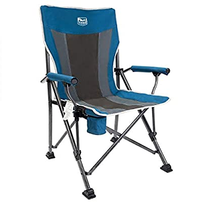 Timber Ridge Camping Chair 400lbs Folding Padded Hard Arm Chair High Back Lawn Chair Ergonomic Heavy Duty with Cup Holder, for Camp, Fishing, Hiking, Outdoor, Carry Bag Included