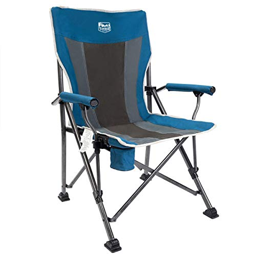 Timber Ridge Camping Chair Ergonomic High Back Support 300lbs with Carry Bag Arm Chair Folding Quad Chair Outdoor Heavy Duty, Padded Armrest, Cup Holder