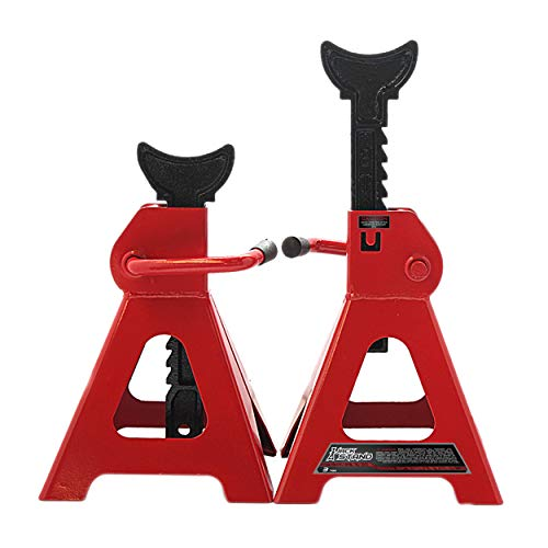 Apextreme Steel Jack Stands 3 Ton Capacity, 1 Pair Self-Locking Design Jack Stands, Red