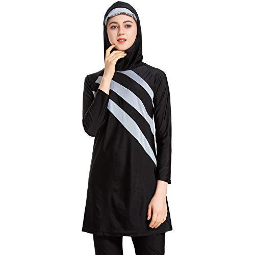 CaptainSwim Neue Muslimische Badebekleidung für Frauen Mädchen Vollständige Abdeckung Burkini Badeanzug Set Islamischer Hijab Bescheiden Strandkleidung Schwimmen Passen Kostüm (2XL, Schwarz grau)
