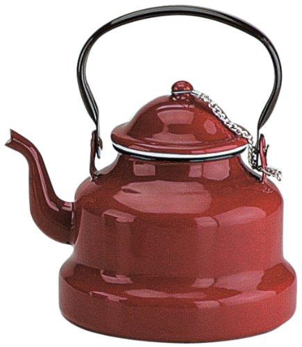 Ibili Wasserkocher Roja 1 l aus emailliertem Stahl in rot, 10 x 10 x 20 cm