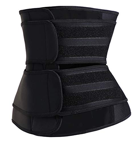 Neoprene Sweat Waist Trainer Waist Trimmer Belt for Women Sport Sweat Workout Slimming Body Shaper Sauna Exercise,Black Large