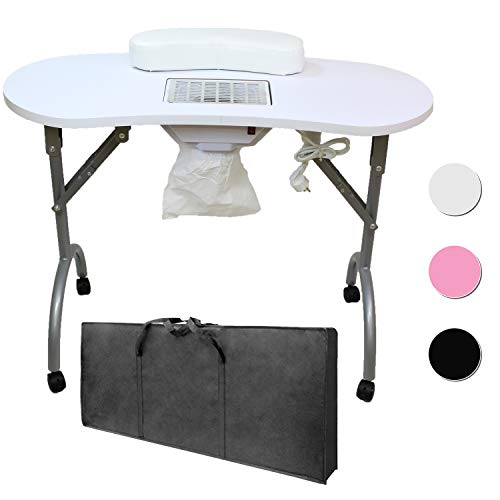Mesa para manicura Plegable, con Aspirador, reposamuñecas y Bolsa de Transporte - 12 KG - 98 x 44 x 77 cm - Blanco