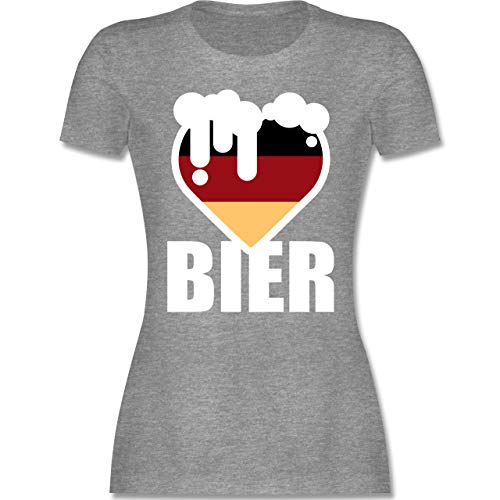 Oktoberfest Damen - Herz mit Bier - Deutschland - XXL - Grau meliert - Statement - L191 - Tailliertes Tshirt für Damen und Frauen T-Shirt