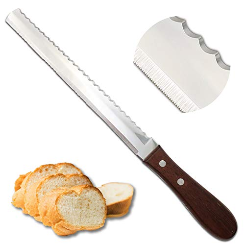 Bread Knife, 2in1 Double Sided [Made in Japan] Super Sharp 8 Inch Power Blade Serrated Bread Knife for Homemade Bread, Unique Design Bread Cutter