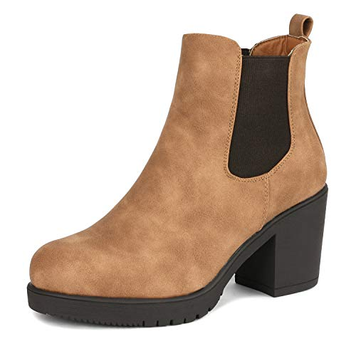 DREAM PAIRS Women's Fre Camel Pu High Heel Ankle Boots Size 5 B(M) Us