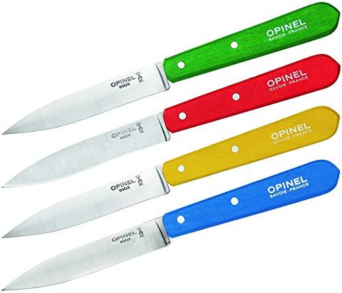 Opinel Estuche de 4 patateros N°112 Mango clásicos Azul, Amarillo, Rojo, Verde 001233, Acero Inoxidable
