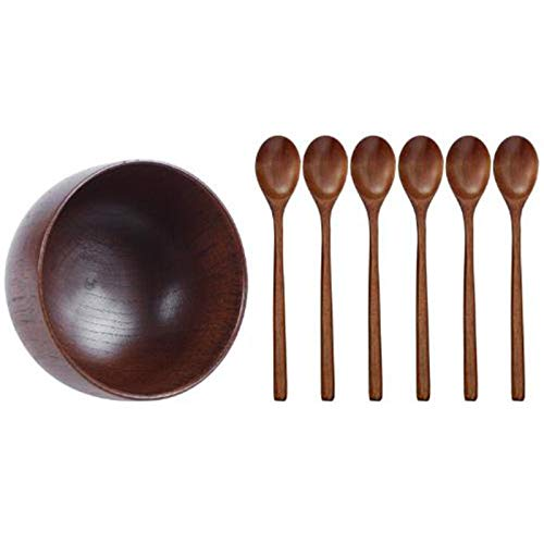 Gesh Wooden Bowls Wooden Soup Bowl & Wooden Spoons, 6 Pieces Wood Soup Spoons for Eating Mixing Stirring Cooking, Long Handle