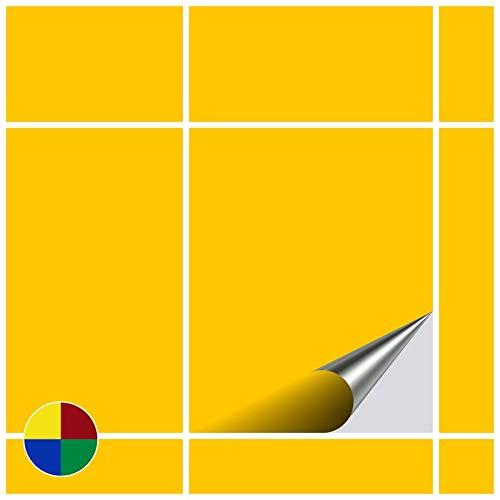 FoLIESEN Auto-adesivo a forma di piastrelle, per bagno e cucina, dimensioni: 20 x 25 cm, colore: Beige brillante; 4 auto-adesivi per piastrelle e pareti, Giallo brillante, 4 pezzi