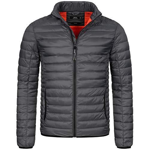 Indicode Designer Herren Winter Steppjacke Stepp Jacke leicht gefüttert B627 [B627-Amare-Dunkelgrau-Gr.L]
