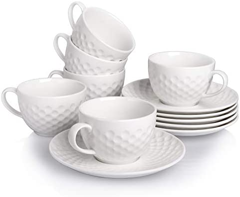 AVLA Set of 6 Porcelain Espresso Cups with Saucers 8 Ounce Coffee Cup and Saucer Set Espresso product image