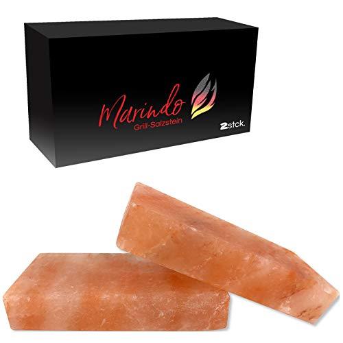 Marindo® BBQ Grill Salzstein XL | Salzstein zum Grillen | 2er Set | extra dick: 20x10x4cm | inkl. Bedienungsanleitung | reinstes Kristallsalz | Salzplatte | Salzblock für fantastisches Grillerlebnis