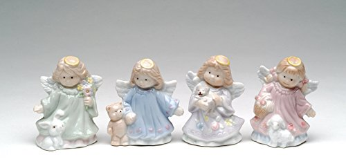 Cosmos Gifts 1350 Fine Porcelain Mini Angel with Friends Figurines Set of 4, 2-1/2' H