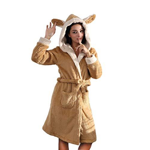 Damen-Bademantel aus Fleece, mit zwei Ohren, warm, mit Taillengürtel - - Small