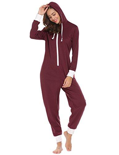 Jumpsuit Damen Onesie Schlafoveralls Jogging Anzug mit Kapuze Trainingsanzug Einteiler Schlafanzug Langarm Strampler Kuscheliges Pyjamas mit Reißverschluss für Frauen Mädchen