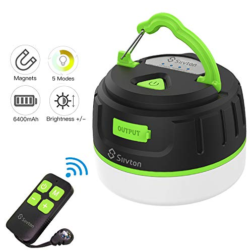 Siivton Camping Lights, Rechargeable Camping Lantern with Remote & Power Bank 6400mAh, LED Tent Light Ultra Bright for Camping, Hurricane Emergency Kits