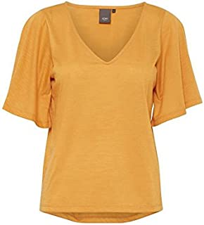 Ichi Mustard V Neck Blouse For Women, Size Small