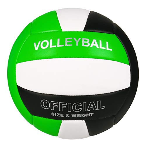 YANYODO Official Size 5 Volleyball, Soft Indoor Outdoor Volleyball for Game Gym Training Beach Play, Green Black White