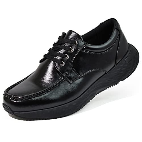 [アシスタント] ウォーキングシューズ メンズ 厚底 靴 シューズ スニーカー (ひもありブラックB, 25.0cm)