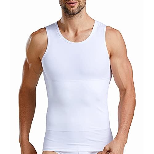 Camiseta Reductora Hombre Compresión, Camisetas Interiores Tirantes, Fajas Moldeadora Adelgazantes - Alta Elasticidad para Comprimir Pecho Abdomen y Cintura (Blanco, XL) 🔥