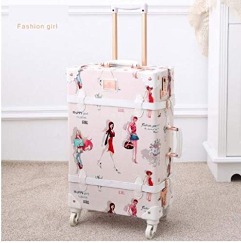 ASP Women's 20-inch 22-inch 24-inch 26-inch travel luggage vintage trim suitcase travel floral trolley,only luggage,22'