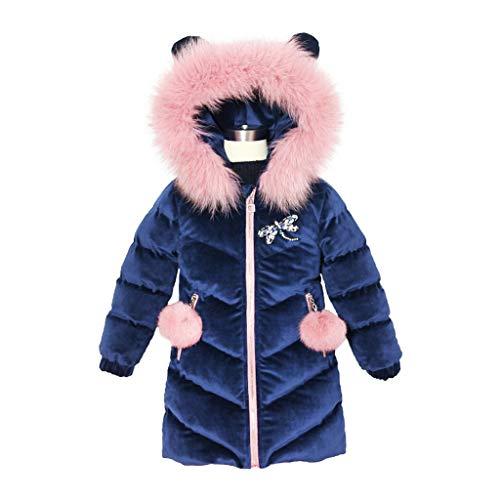 OMSLIFE Mädchen Lang Wintermantel Mantel Jacket Kleidung Kinder Oberbekleidung Daunenmantel Winter Kleidung Winter Down Verdickte Daunenjacken (Blau, Höhe120CM-130CM(Etikett 130))