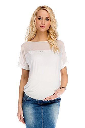 My Tummy Top Premaman Leia Ecru L (Large) Abbigliamento Premaman Maglie Premaman T-Shirt Gravidanza
