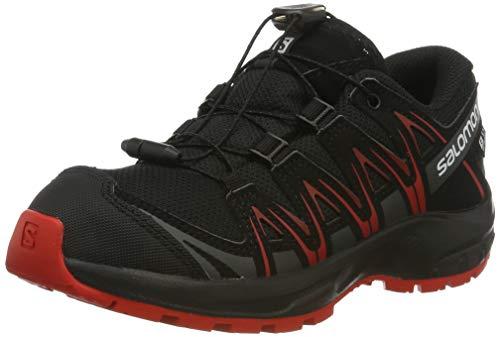 SALOMON XA PRO 3D CSWP J, Scarpe da Trail Running Bambini, Nero/Rosso (Black/Black/High Risk Red), 38 EU