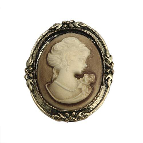 SimpleLife 1 Stück Queen Lady Vintage Victorian Design Cameo Schwarzer Emaille Bronze Brosche