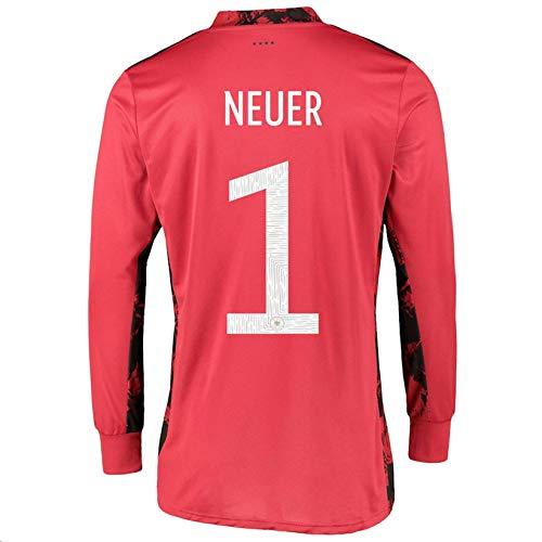 LISIMKEM 2020-2021 Men's Soccer Goalkeeper Long Sleeve Jersey/Short Colour Red (Germany Neuer #1 (L))
