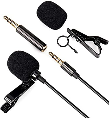 Lavalier Clip on Microphone - Daffodil MCP100B - 3.5mm Aux Mini Hands-Free Lapel Microphone for Mobile Phone,PC, Camera, Laptop