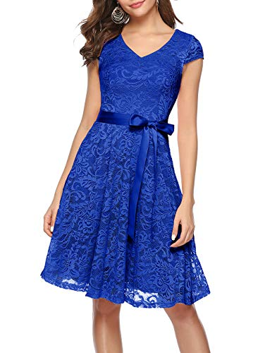 BeryLove Damen V-Ausschnitt Kurz Brautjungfer Kleid Cocktail Party Floral Kleid BLP7006RoyalBlueL
