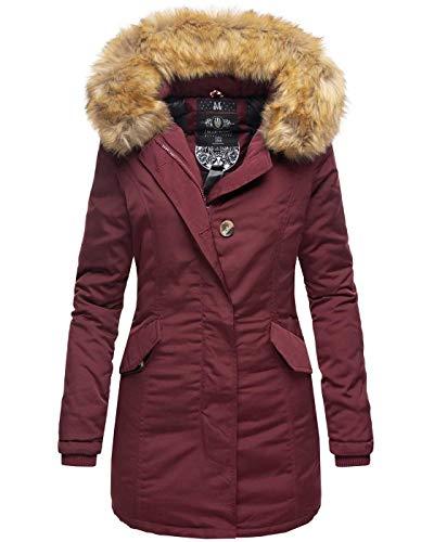 Marikoo Damen Winter Jacke Parka Mantel Winterjacke warm gefüttert B362 (X-Small, Weinrot)