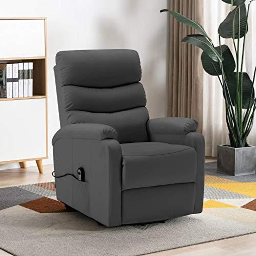 FAMIROSA Sillón reclinable de Cuero sintético Gris antracita-1279